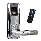 BIOREMOTE Fingerprint Door Lock with Remote Control, Polished Chrome / Black - Right or L